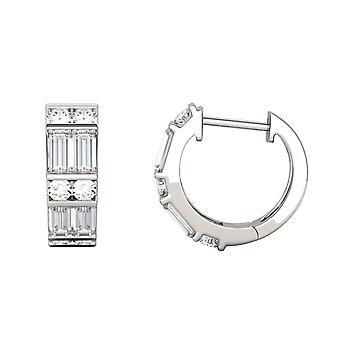 14K wit goud Moissanite door Charles & Colvard 4x2mm rechte Baguette Hoop Earrings Hoop Earrings, 1.29cttw DEW