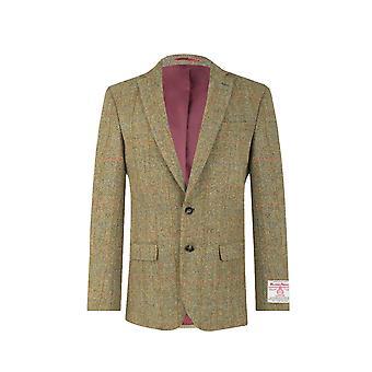Schottische Harris Tweed Herren grün Fensterscheibe regelmäßige Fit 100 % Wolle Kerb Revers Tweed Jacke