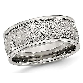 Mens Stainless Steel 9mm Textured Wedding Band with Rounded Ridge