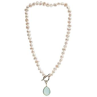Pearls of the Orient Irregular Freshwater Pearl Aqua Chalcedony Drop Necklace - Light Green/White