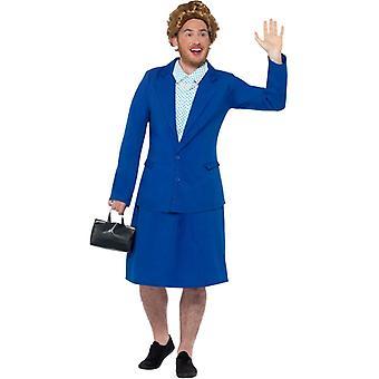 Eiserne Lady Prime Minister Kostüm Damen Blau mit Jacke Hemdnachahmung Rock & Tasche Iron Lady Damenkostüm