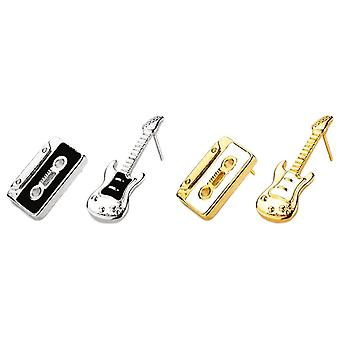 Guitar and Cassette Stud Earrings
