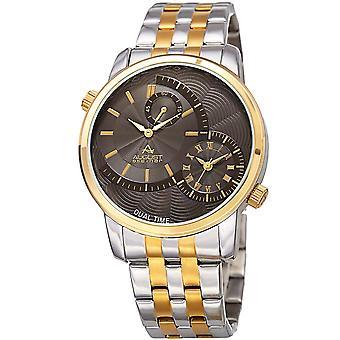 Augusti Steiner mäns Dual Time lätt att läsa två-Tone rost fritt stål arm band Watch AS8210TTG