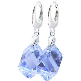 Ah! Jewellery Sterling Silver Dazzling Light Sapphire Crystals From Swarovski 22mm Chunky Cubist Earrings.
