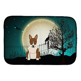 Halloween Scary Bull Terrier Brindle Dish Drying Mat