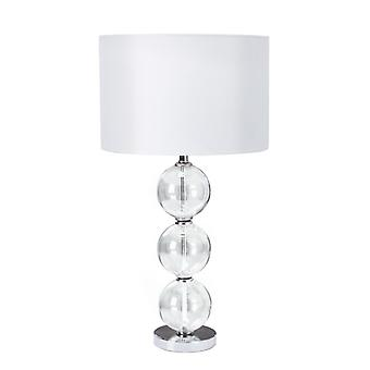Table Lamp (single) - Clear Glass Ball Stacked Base, White Shade