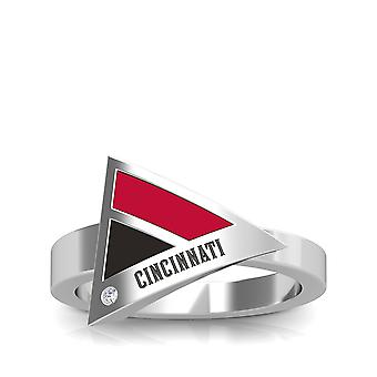 Cincinnati Reds Engraved Sterling Silver Diamond Geometric Ring In Red and Black
