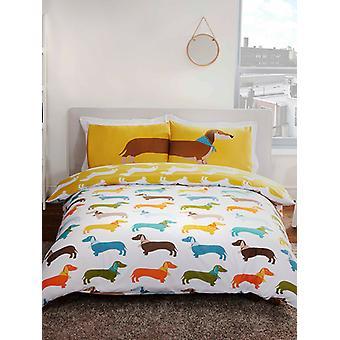 Couverture de couette de chien de saucisse et ensemble d'taie d'oreiller