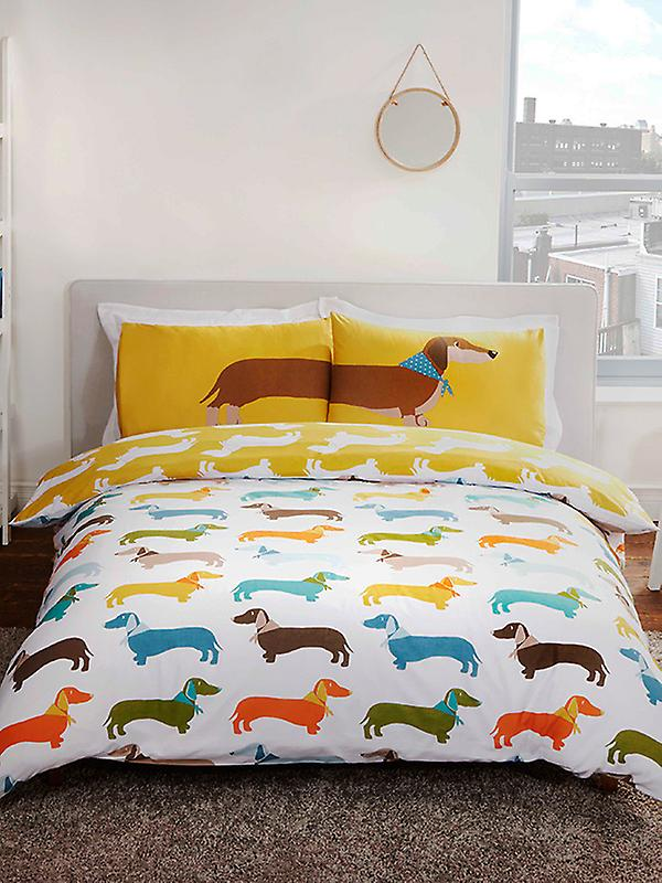 Sausage Dog Duvet Cover and Pillowcase Set