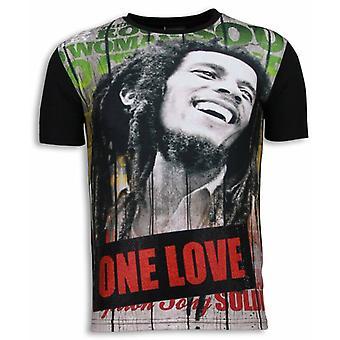 Bob Marley One Love-Digital Rhinestone T-shirt-Noir