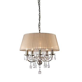 Diyas Olivia Pendant With Soft Bronze Shade 5 Light Antique Brass/Crystal