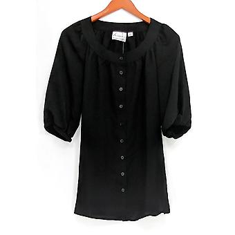 Linea by Louis Dell'Olio Women's Top Peasant Button Front Black A254442