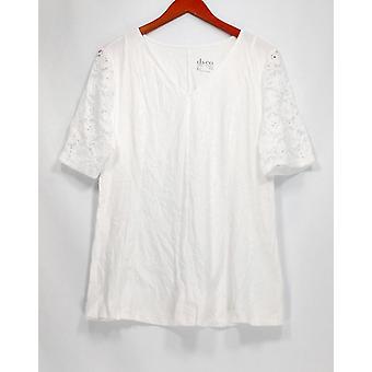 Denim & Co. kvinder ' s top pasform & flare stretch blonde hvid A290115