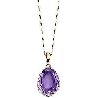 Elements Gold Organic Shaped Pendant - Purple/Silver