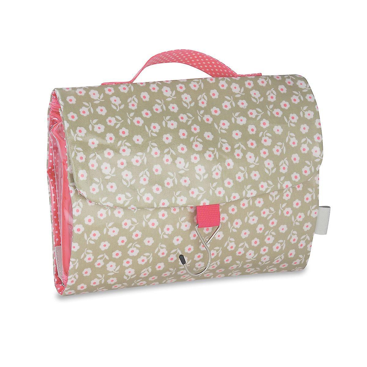 'daisy' threefold hanging wash bag - sage