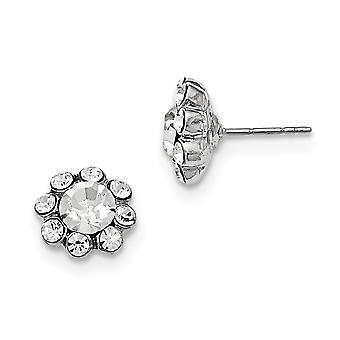 Tono plata acero quirúrgico post claro cristal post pendientes joyería regalos para las mujeres