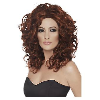 Womens Auburn Long Curly Wig Fancy Dress Costume Accessory