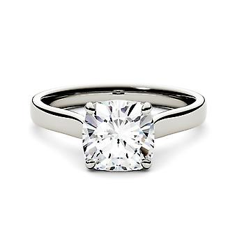 14K Gold Moissanite by Charles & Colvard 7.5mm Cushion Solitaire Engagement Ring, 2.00ct DEW