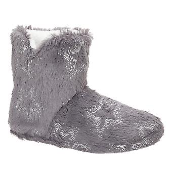 Slumberzzz Womens/Ladies Foil Star Bootee Slippers
