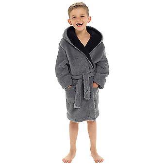 Boys Hooded Shaggy Fleece Dressing Gown Nightwear Bathrobe