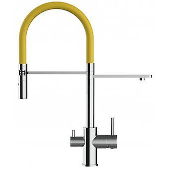 3-weg keuken filter gootsteen mixer met gele lente uitloop en 2 straal spray, werkt met alle water filtersysteem-136