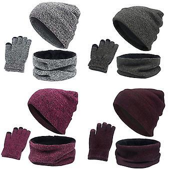 3 Parts Winter Beanie Hat Neck Gloves Set