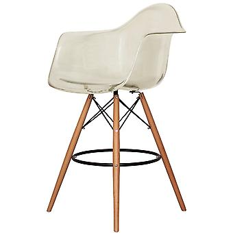 Charles Eames Style Clear Smoke Plastic Bar Stool With Arms