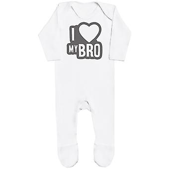 I Love My Bro Black Outline Baby Romper