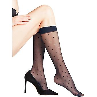 Falke Dot 15 Denier Knee High Tights - Marine Navy