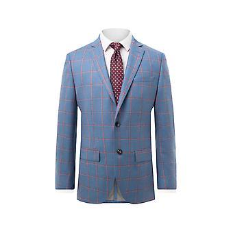 Holland & Sherry mens blå drakt jakke vanlig Fit 100% ull vindusrute sjekk