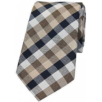 David Van Hagen Check Luxury Silk Tie - Tan/Beige/Navy
