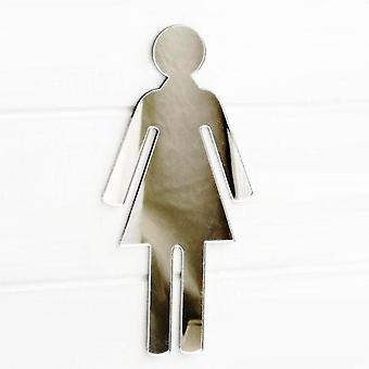 Female Toilet WC Door Sign in Acrylic Mirror
