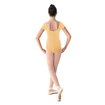 Mirella Women's Princess Seam Cap Sleeve Dance Leotard, Buttercup, Size Petite
