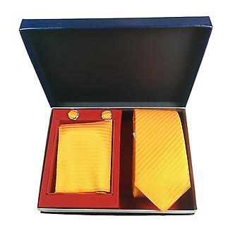 Tie, Cufflink & Hankerchief Set Exlusive Milan Collection 100% Hand Made Orange Stripe pattern