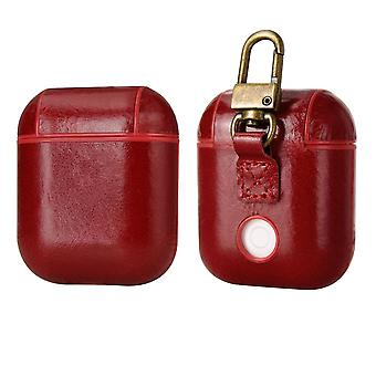 For Apple AirPods 1/2 Case, Genuine Leather Shockproof Box, Red with Hook