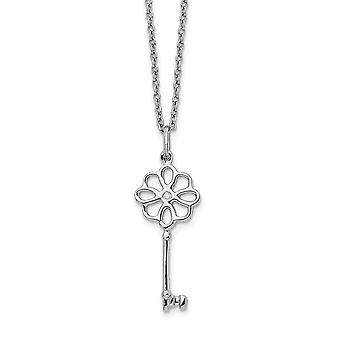925 Sterling Silver White Ice Diamond Flower Key With 2in Ext Necklace 18 Inch Jewelry Gifts for Women