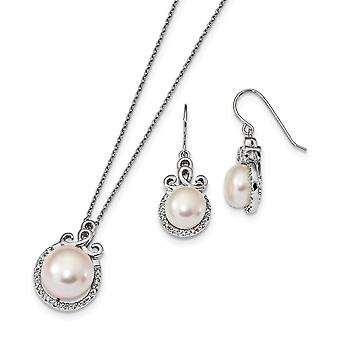 925 Sterling Silver Rh 9 13mm Freshwater Cultured Pearl CZ Cubic Zirconia Simulated Diamond Earrings and Necklace Set Je