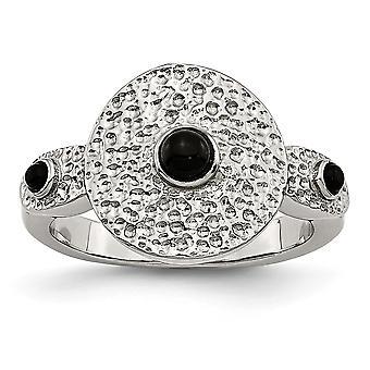 Edelstahl poliert und strukturiert schwarz simuliert Onyx Ring Schmuck Geschenke für Frauen - RingGröße: 6 bis 9