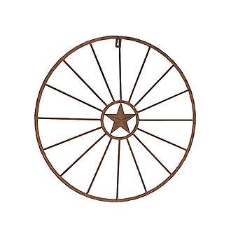 18 tums metall rund stjärna plack rustik handfärg åldern vägg hängande konst inredning