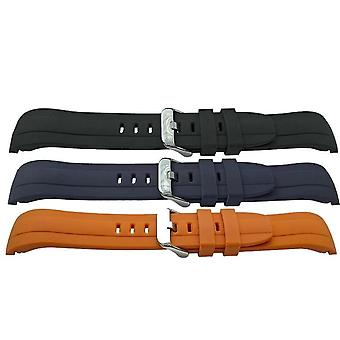 Rubber watch strap centre rib design with curved ends 22mm