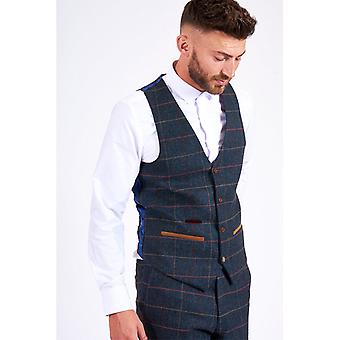 Marc Darcy ETON Single Breasted Tweed Check Vest - Navy Blue
