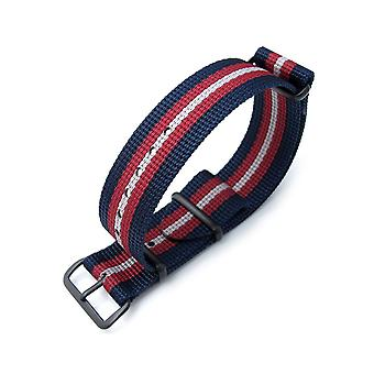 Strapcode n.a.t.o watch strap miltat 20mm, 21mm or 22mm g10 nato bullet tail watch strap, ballistic nylon, pvd - blue, red & grey stripes