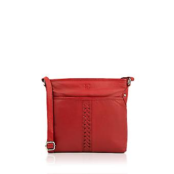 Plaited Leather Cross Body Bag in Red