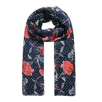 Jewelcity Womesn/Ladies Dotty Rose Print Scarf