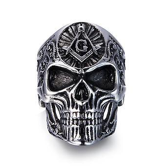 Gothic skull masonic ring-bricks masons