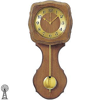 AMS 5162/4 Wall Clock Radio Radio Wall Clock with Pendulum Golden Wood Oak Pendulum Clock