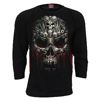 Spiral Direct Gothic DEATH BONES - Red Ripped Longsleeve T-Shirt Black|Skulls|Cross|Skeleton|Blood