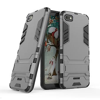 HATOLY iPhone SE (2020) - Robotic Armor Case Cover Cas TPU Case Gray + Kickstand