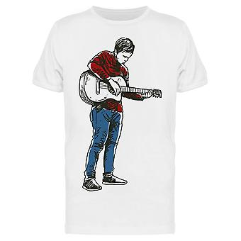 Hand Drawn. Guitar Player Tee Men's -Image by Shutterstock