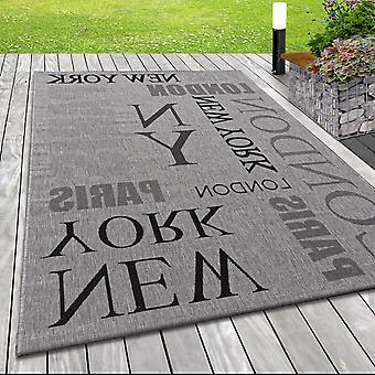 Moderne platte stof in-& Outdoor Terras Rug Londen Parijs Patroon Grijs